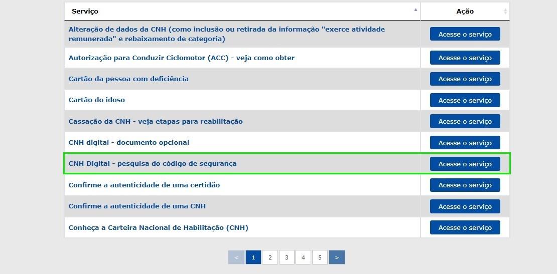 """clique em """"acesse o serviço"""" para consultar o código de segurança da CNH"""